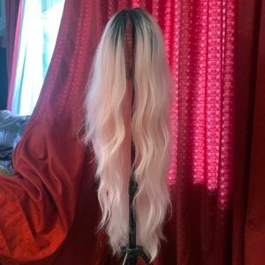 Extra Long Pink and Black Ombré Wig